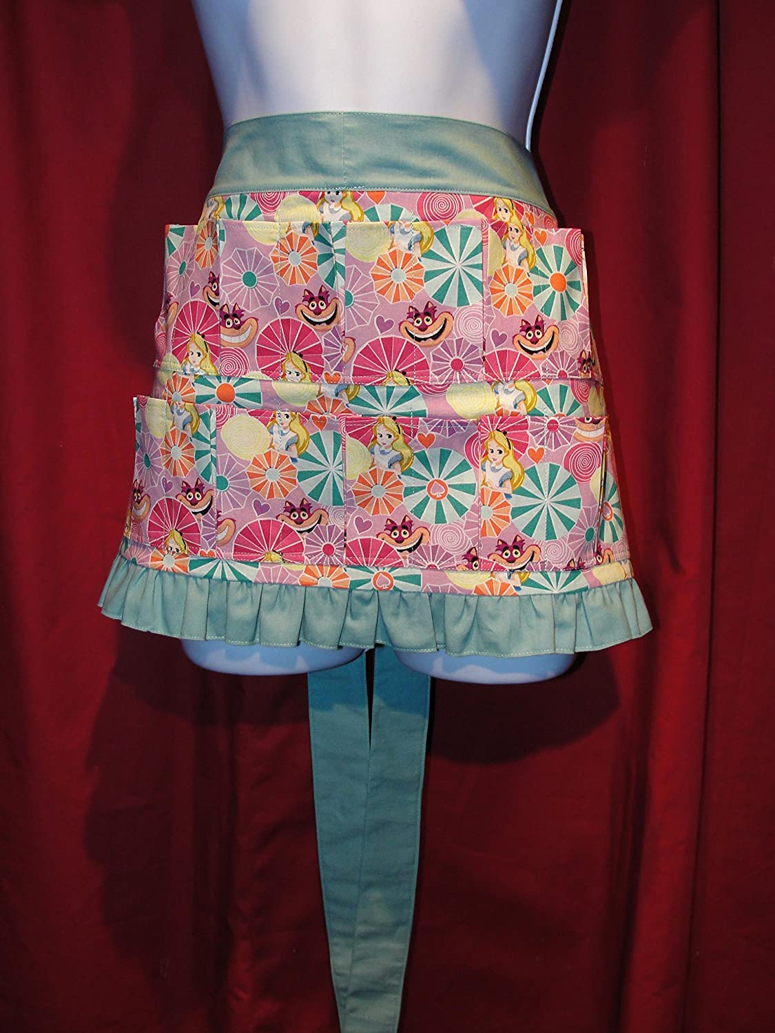 Pockets hold eggs Handmade Egg Gathering /& Collecting Alice in Wonderland Cheshire Cat 10 pocket Apron with ruffle Made in the USA!