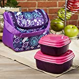Fit & Fresh Morgan Insulated Lunch Bag Set with Reusable Containers (Purple Aqua Woodstock)