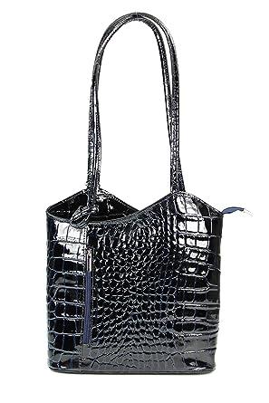 ital. Leder Handtasche schwarz weiß Strauß Prägung, auch auf dem Rücken tragbar - 28x28x8 cm (B x H x T) Belli