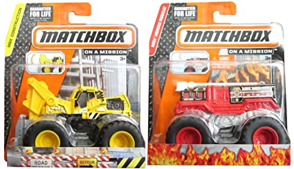 Matchbox Flame Stomper U0026 Work Ready Tractor Monster Fire Engine Truck U0026  Front Loader Construction