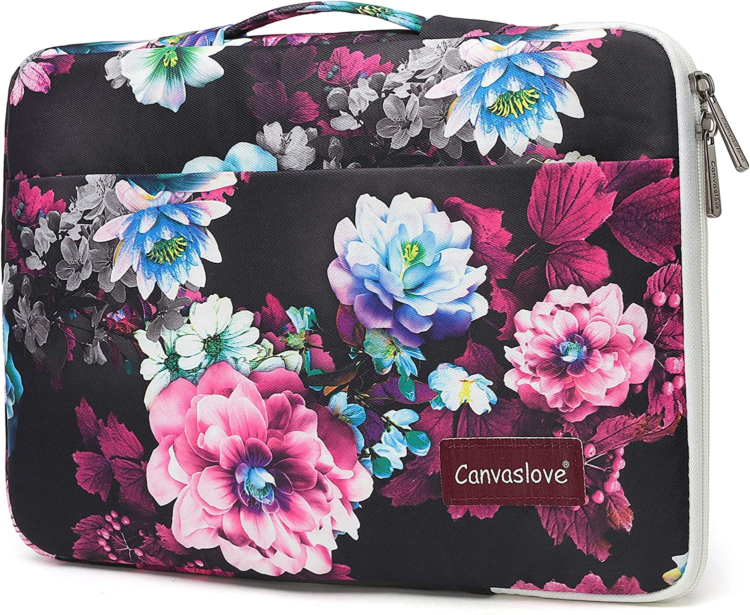 Canvaslove Color Lotus Conner Bottom Rebound Bubble Protection Waterproof Laptop Sleeve Case with Handle and Pockets for 14 inch Laptop
