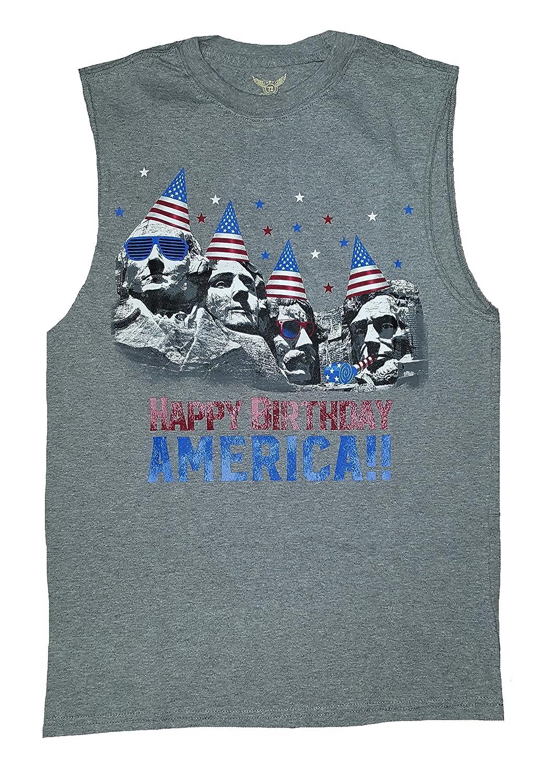 Amazon Happy Birthday America Mount Rushmore Gray Sleeveless Muscle Shirt Clothing