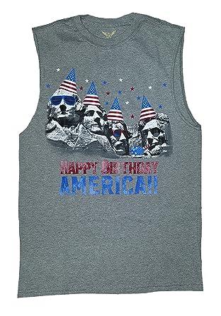 Faded Glory Happy Birthday America Mount Rushmore Gray Sleeveless Muscle Shirt