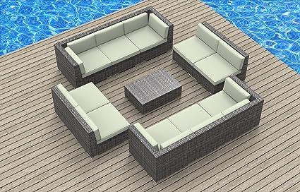 UrbanFurnishing.net 11a Burmuda Biege 11 Piece Modern Patio Furniture Sofa  Sectional Couch