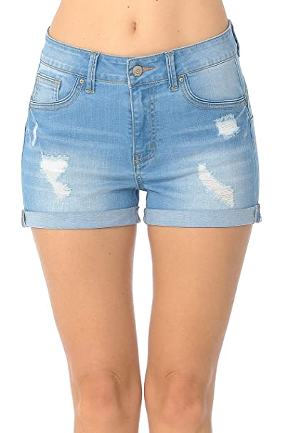 Amazon.com: Wax - Pantalones cortos de mezclilla para mujer ...