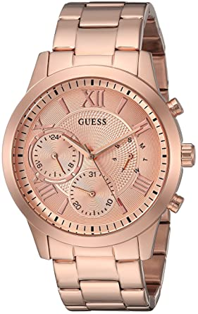 GUESS Womens Stainless Steel Casual Watch, Color: Rose Gold-Tone (Model: