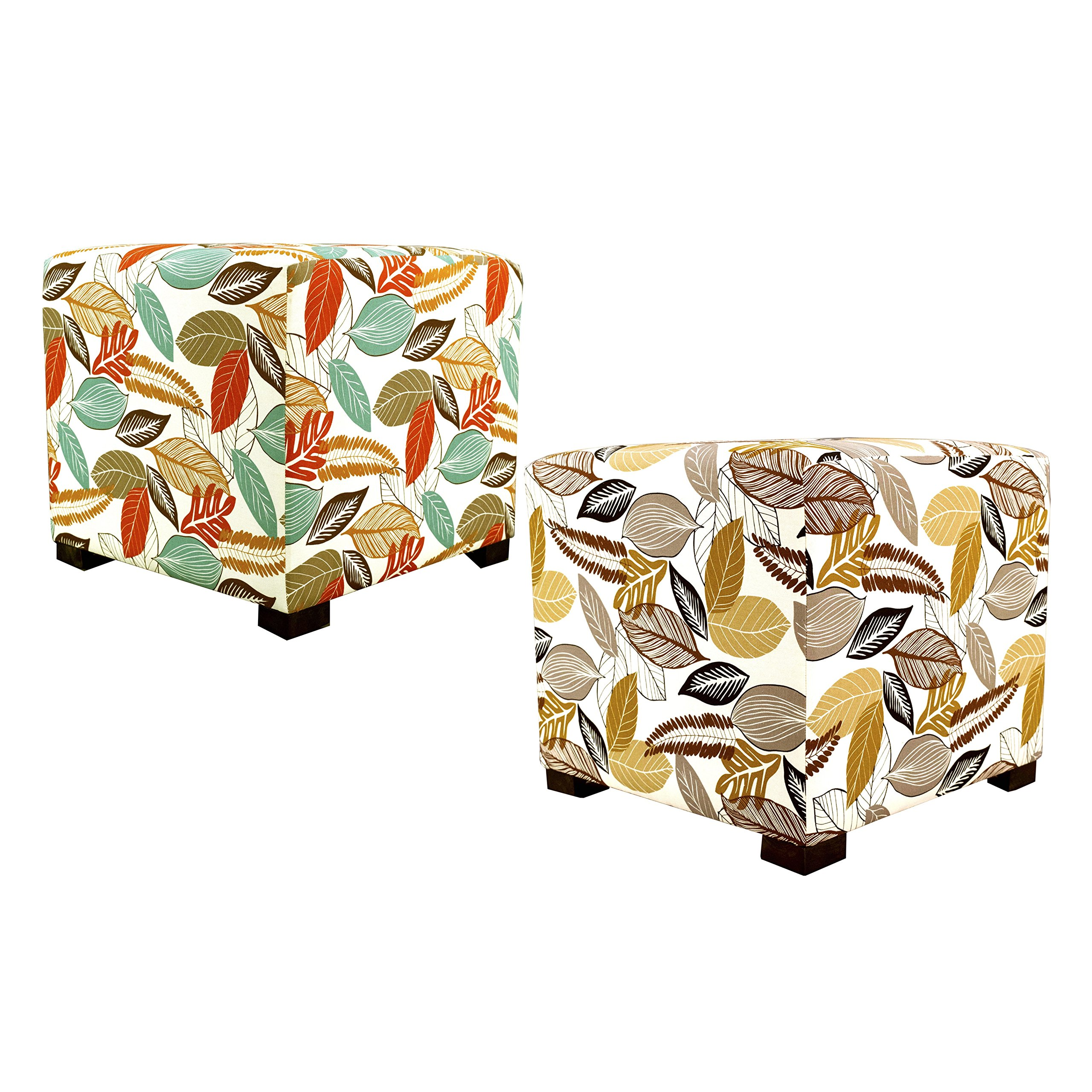 MJL Furniture Designs Merton Collection, Fabric Upholstered Modern Cube Foot Rest Ottoman with 4 Button Tufting, Floral Foliage Series, Driftwood by MJL Furniture Designs (Image #2)