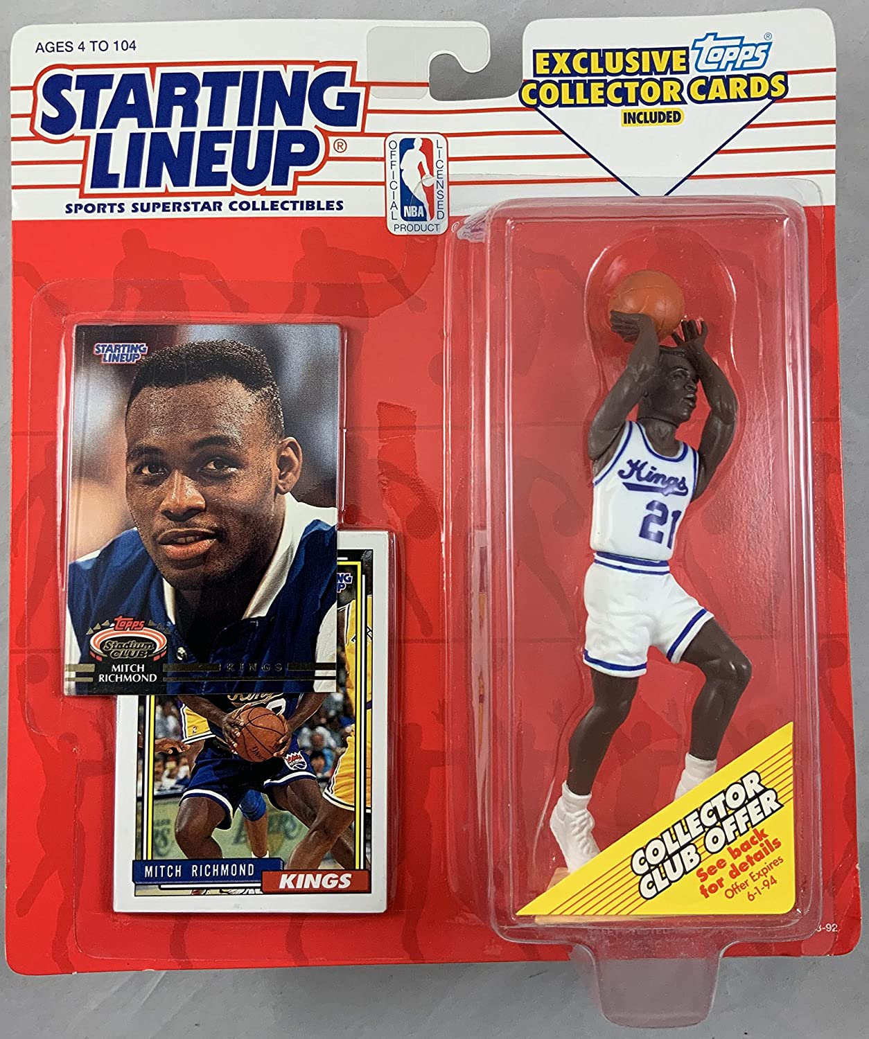 1993 KENNER STARTING LINEUP NBA MITCH RICHMOND SACRAMENTO KINGS MOC