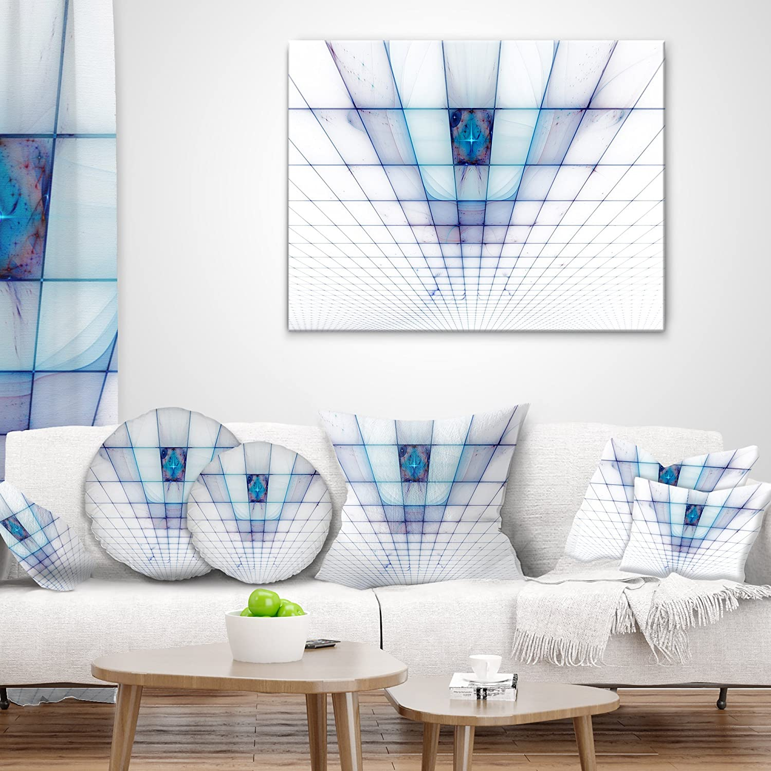Designart CU16057-16-16 Light Blue Laser Protective Grids Abstract Cushion Cover for Living Room Sofa Throw Pillow 16 in in x 16 in