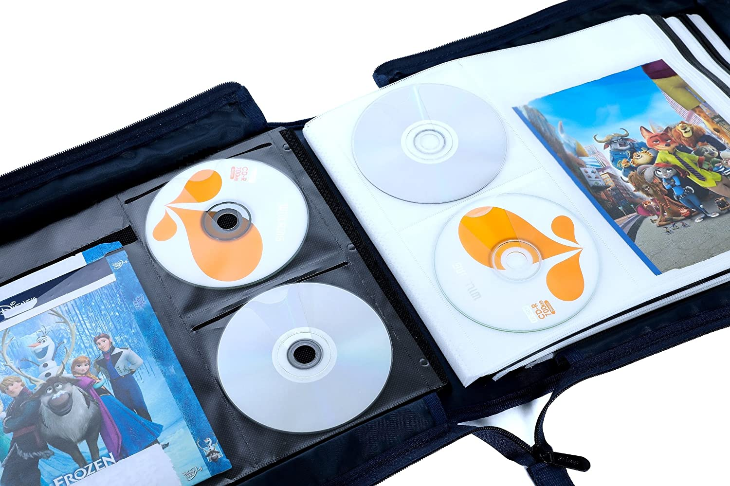 Marvelous Amazon.com: DVD CD Storage Case With Extra Wide Title Cover Pages For Blu  Ray Movie Music Audio Media Disk (Portable Carrying Binder Holder Wallet  Album ...