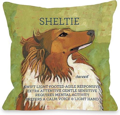 One Bella Casa Sheltie 1 Pillow, 16 by 16-Inch