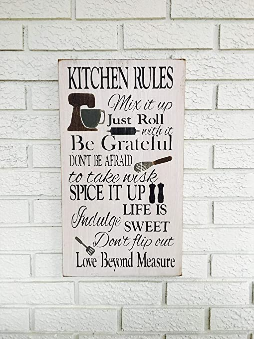 Monsety Kitchen Rules - Cartel de Madera rústica con Texto ...