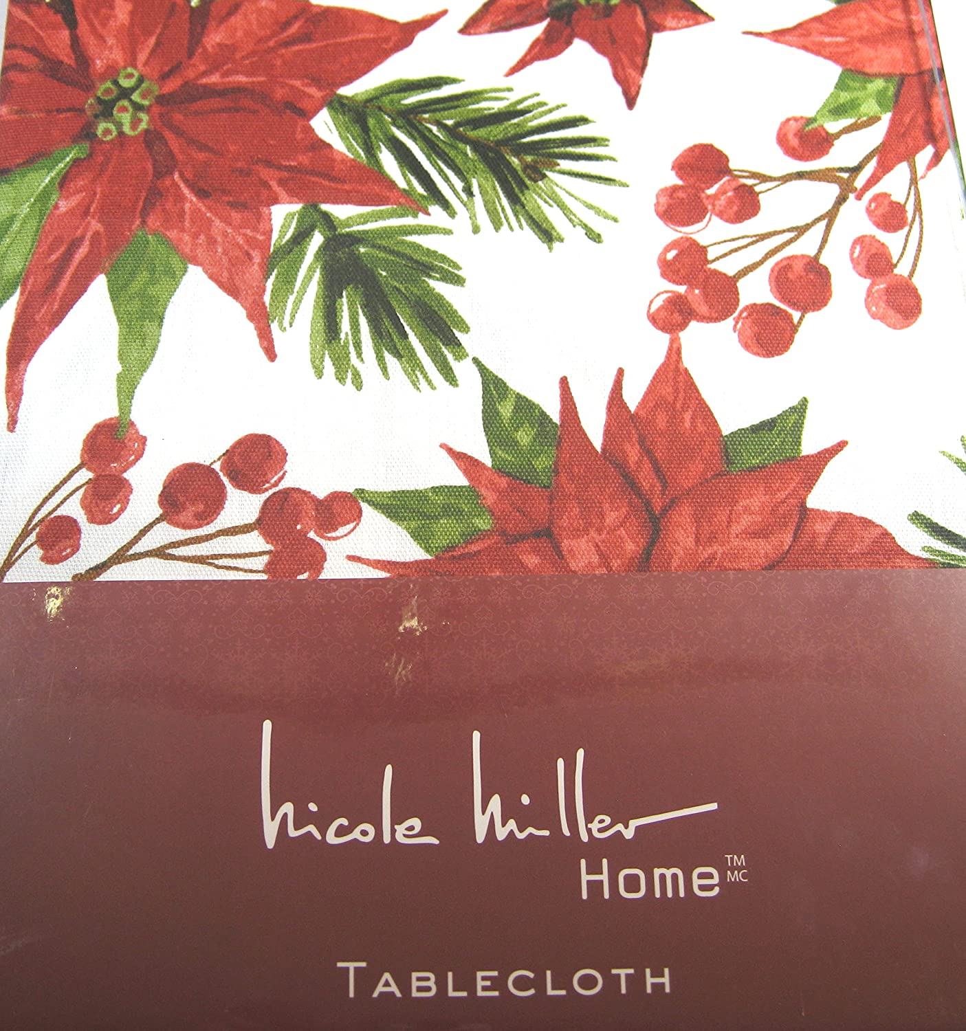 Nicole Miller Noël Poinsettia Nappes 100/% Coton Tailles Assorties obl/&rd