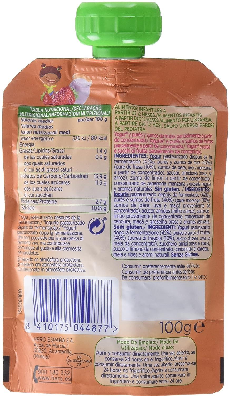 Hero Nanos Bolsita Merienda Yogur Fresa - 100 gr - [Pack de 18]: Amazon.es: Alimentación y bebidas