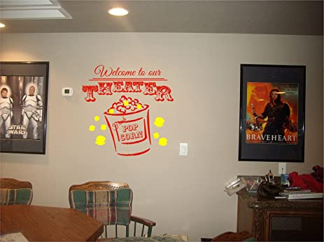 Amazon.com: Welcome to our THEATER POPCORN wall art decal home ...