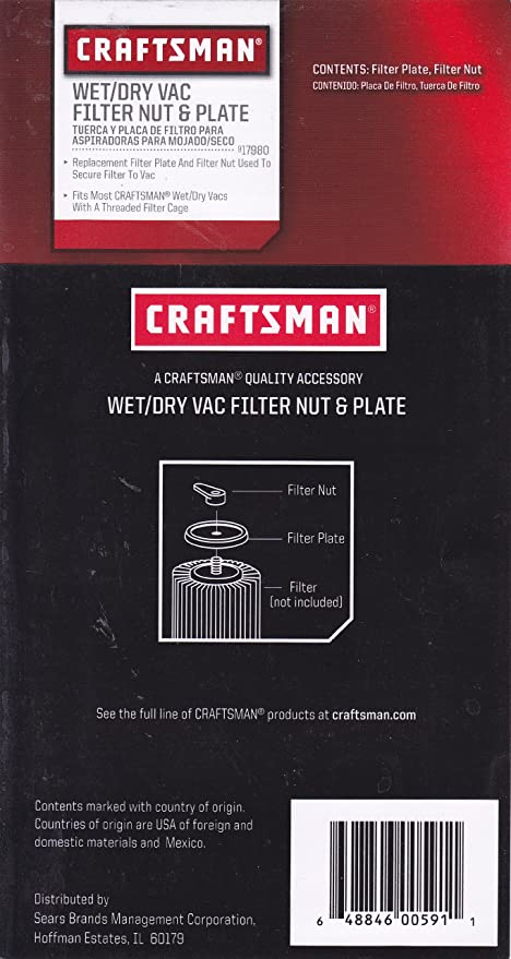 craftsman wet/dry vac filter nut & plate 9 17980 - vacuum and dust ...
