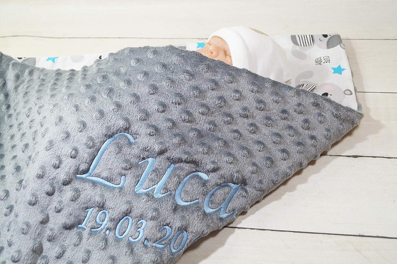 75 x 100 cm Babydecke Kuscheldecke Minky mit Namen und Datum bestickt Baumwolle F/üllung