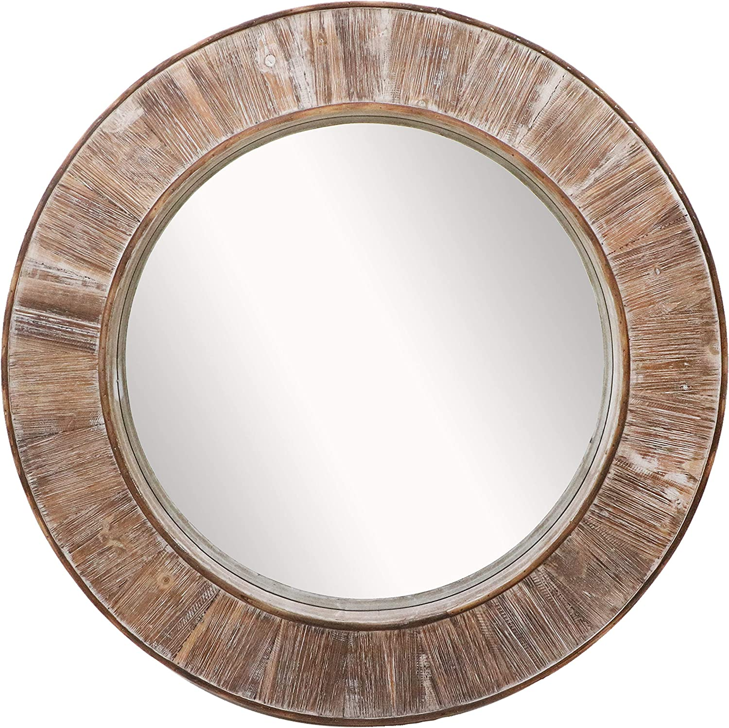 Barnyard Designs Round Decorative Wall Hanging Mirror, Large Wooden Circle Frame, Rustic Distressed Wood Farmhouse Mirror for Bedroom, Bathroom or Living Room Wall Decor, 31.5""