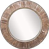 "Barnyard Designs 31.5"" Round Decorative Wall Hanging Mirror, Large Wooden Circle Frame, Rustic Distressed Wood Farmhouse Mirr"