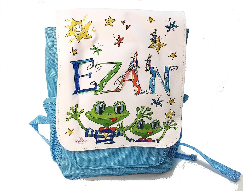 Kindergartenrucksack mit Namen, Frosch, Rosirosinchen, personalisierter Kinderrucksack