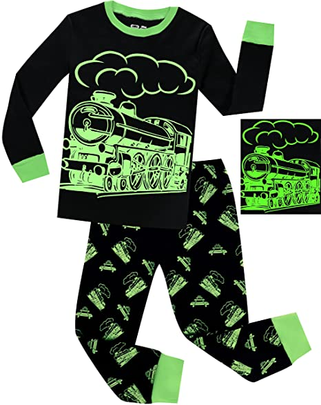 41c0284b32e Boys Train Pajamas Christmas Pjs for Boys Sleepwear Children Clothes Glow  in The Dark Size 5t