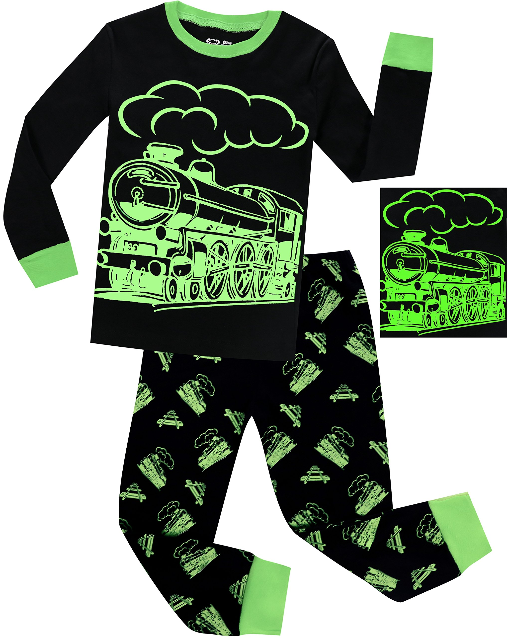 Boys Christmas Pajamas Pjs for Girls Sleepwear Children Clothes Stripe Pants Set Size 8 by BebeBear (Image #1)