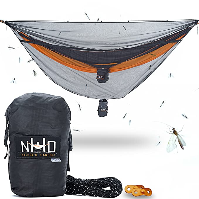 Nature's Hangout Hammock Bug & Mosquito Net - 360 Degrees of Portable Insect Protection for Backpacking & Camping. Netting Fits Nearly All Outdoor Double & Single Hammocks