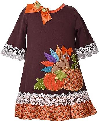 5d61b5ce57a Amazon.com  Bonnie Jean Girls Turkey Pumpkin Appliqued Mixed Knit Print  Dress  Clothing