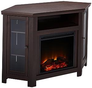 "WE Furniture 48"" Corner TV Stand Fireplace Console, Espresso"