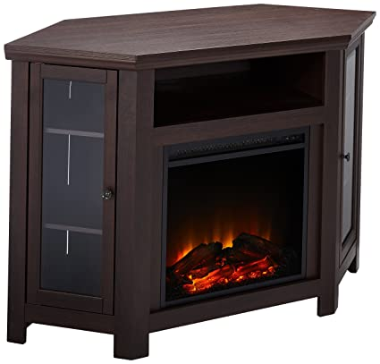 we furniture 48 corner tv stand fireplace console espresso - Corner Tv Stands With Fireplace