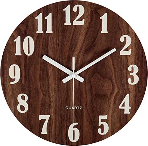 Jomparis 12″ Night Light Function Wooden Round Wall Clock Vintage Rustic Country Tuscan Style