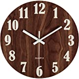 "jomparis 12"" Night Light Function Wooden Round Wall Clock Vintage Rustic Country Tuscan Style for Kitchen Bedroom Office…"
