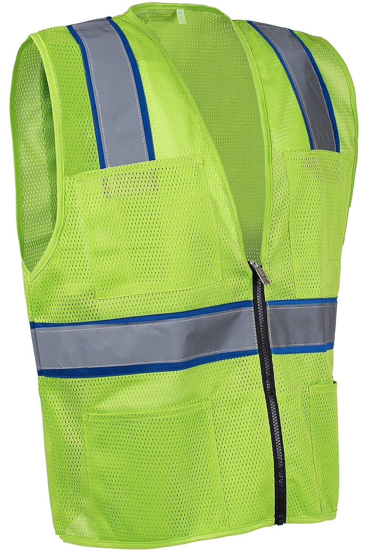 Navy Blue, 2XL Light Weight MSD1000 Safety Depot Mesh Reflective Safety Vest With Zipper and Pockets Hi Vis