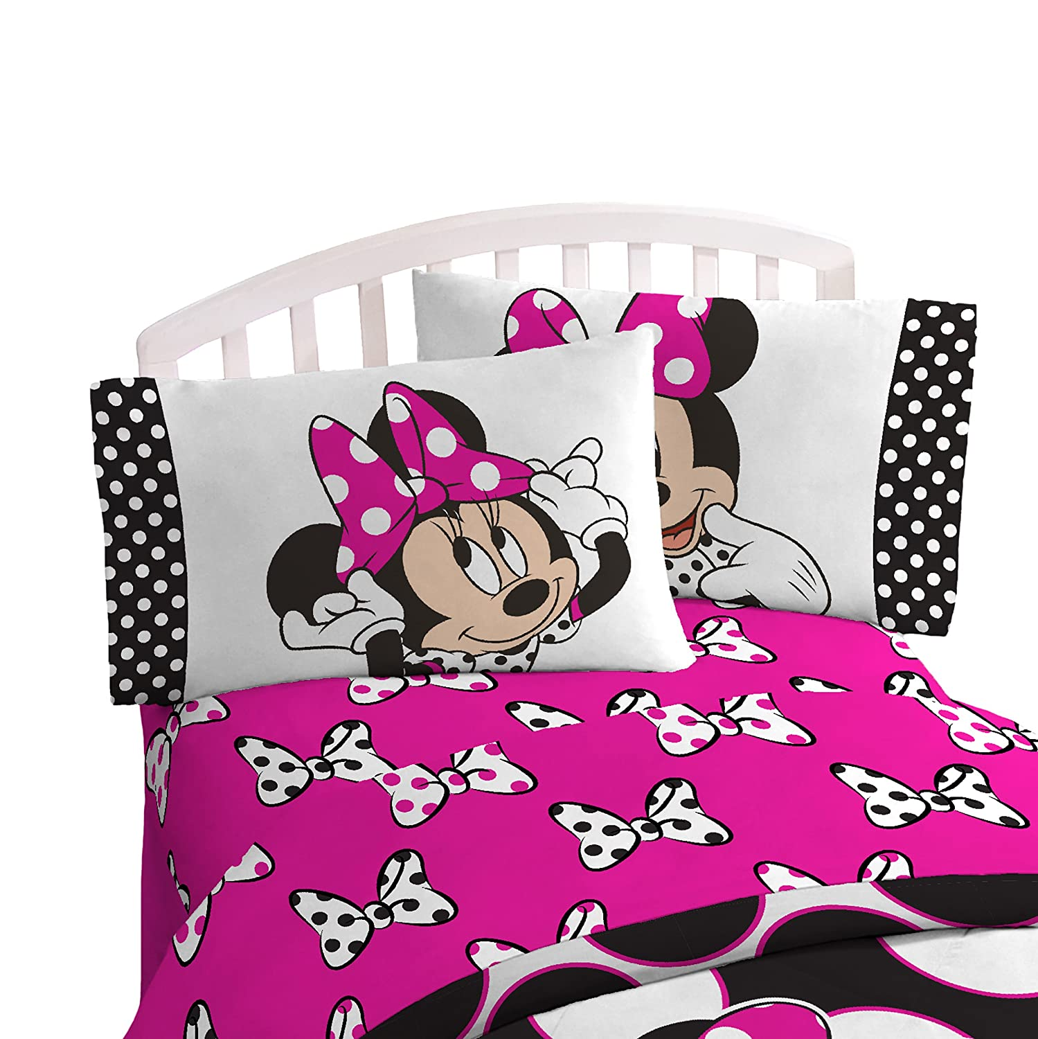 Disney Minnie Mouse Dots Are New Black Microfiber 4 Piece Full Sheet Set