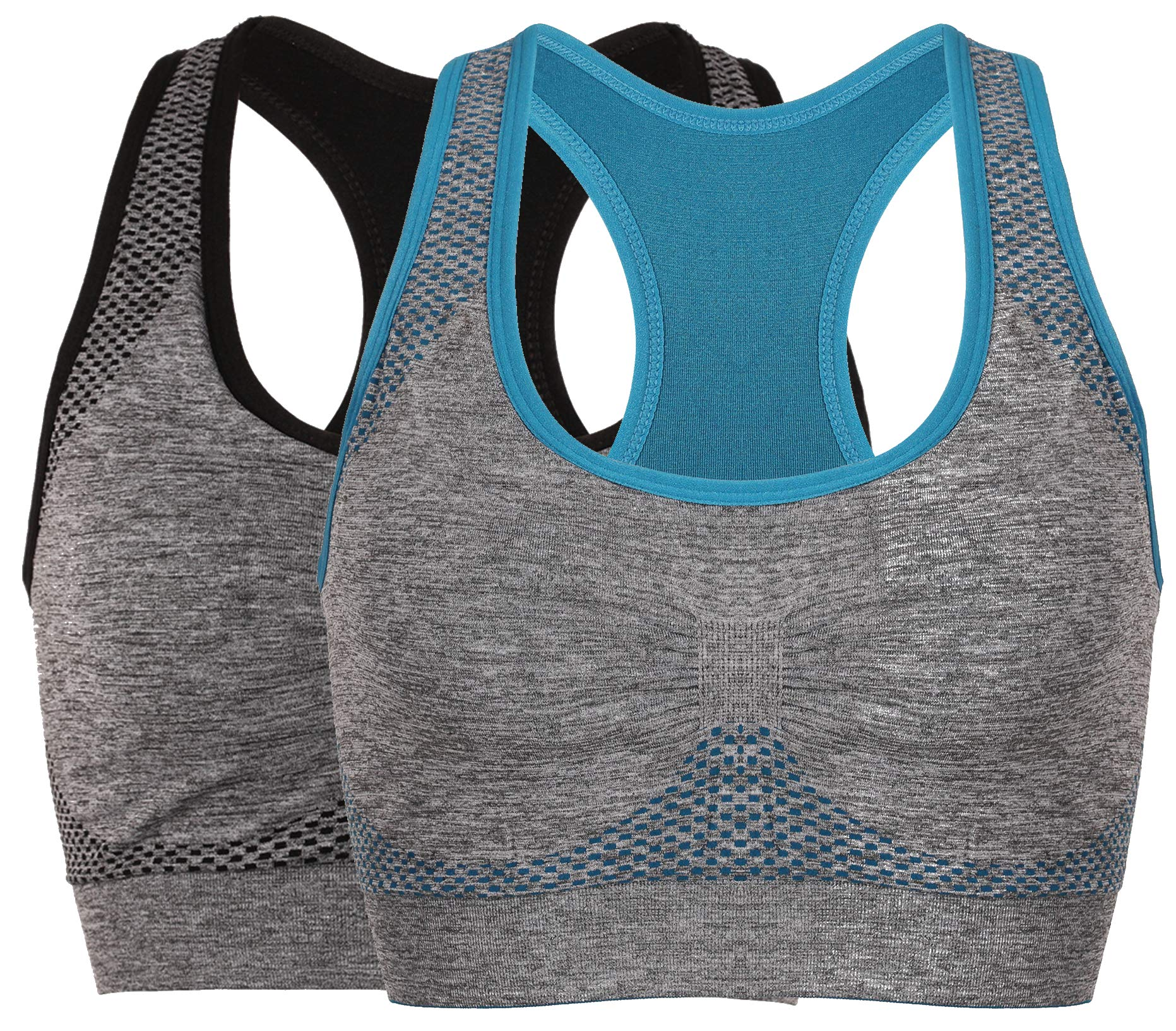 Vermilion Bird Women's Seamless Sports Bra High Impact Pocket Yoga Bras (30A 30B 30C 30D 32A 32B 32C, 2 Pack:Blue Grey)