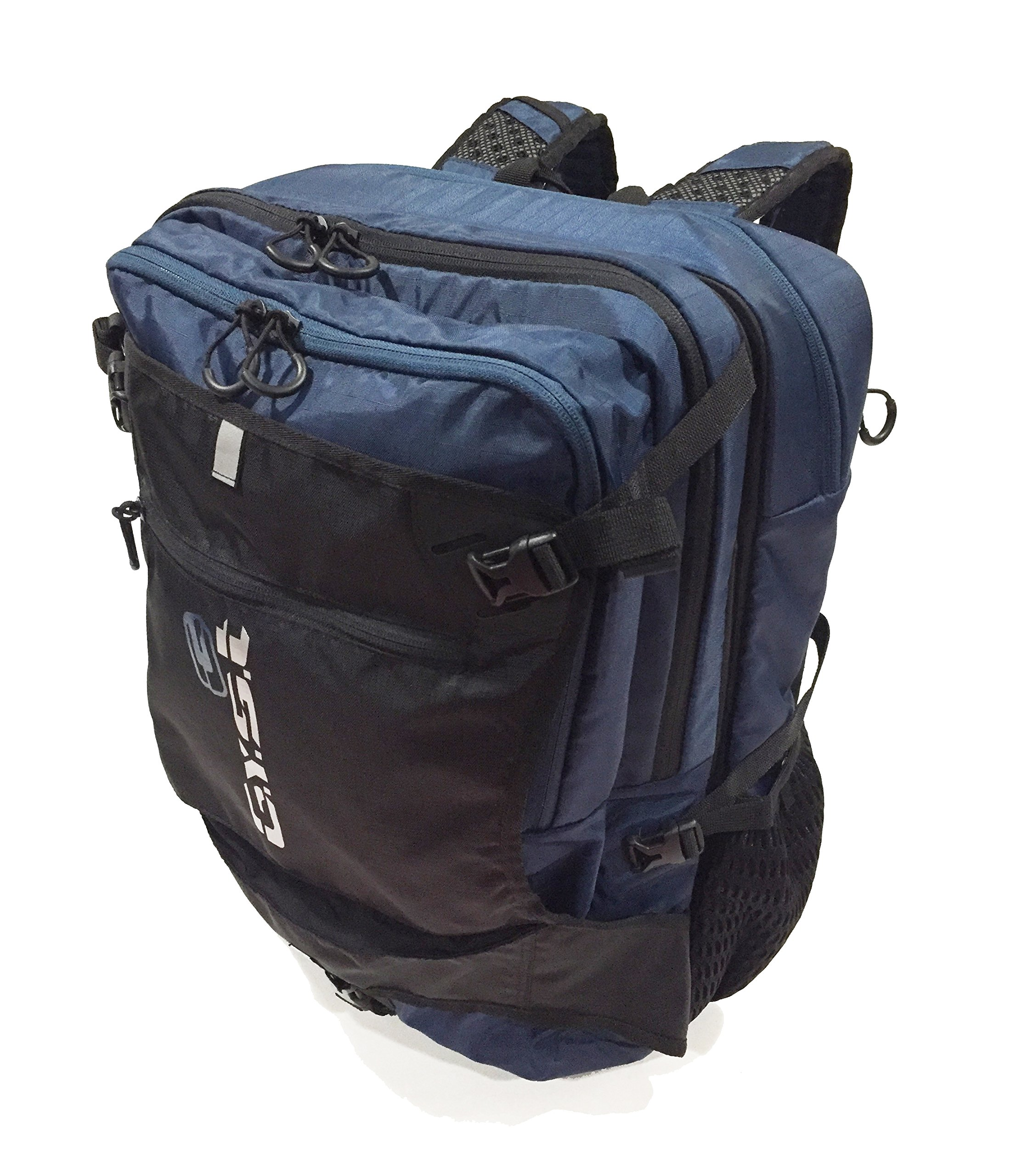 GYST BP1-18 Water repellent Fabric and Reverse Mounted Backpack, Black/Blue