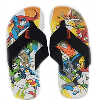 82247a05f1e1 Justice League of America Men s Suede Leatherette Flip Flop Sandals DC  Comics Superheros Superman