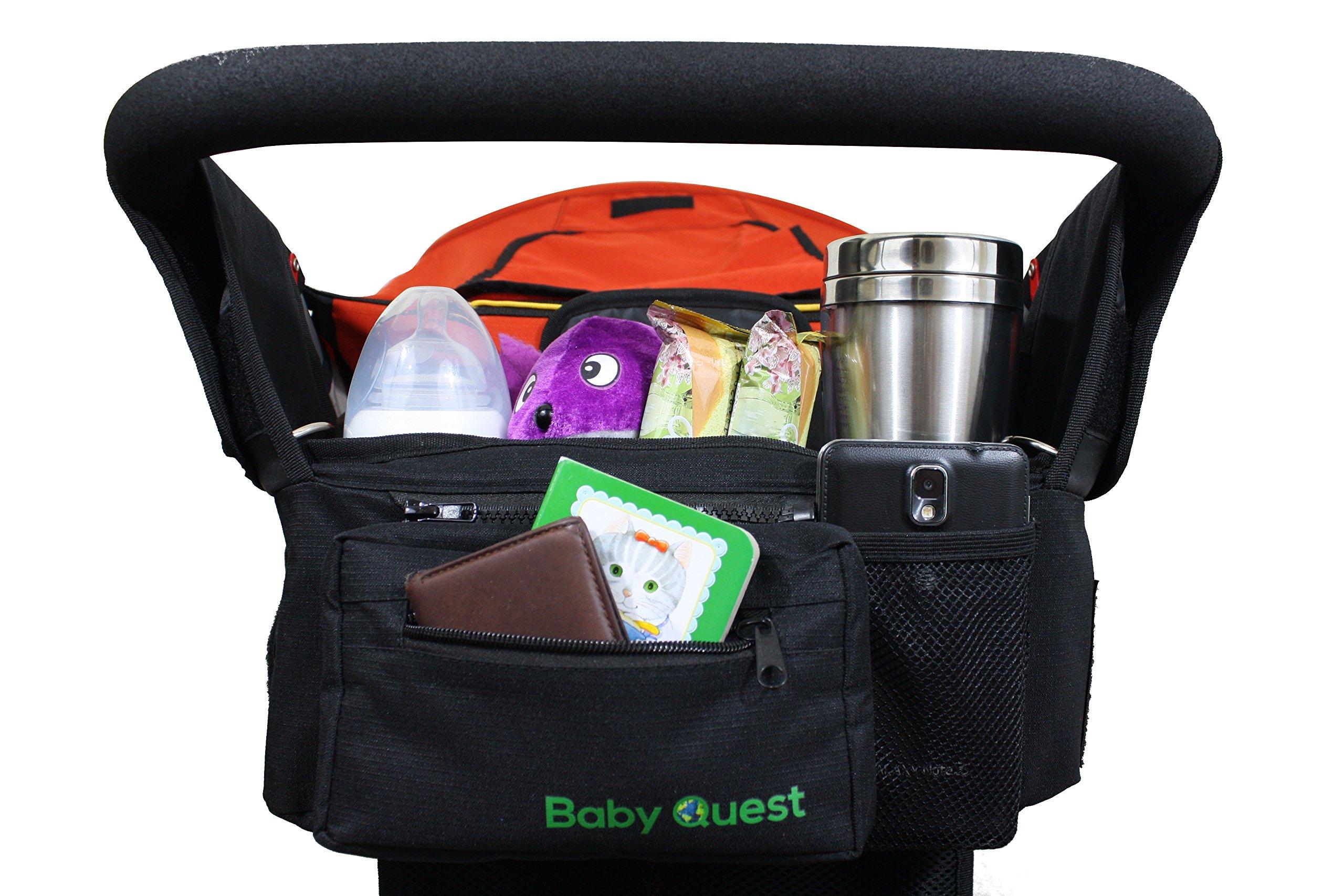 Stroller Organizer - Universal Fit Bag + Bonus Umbrella Holder