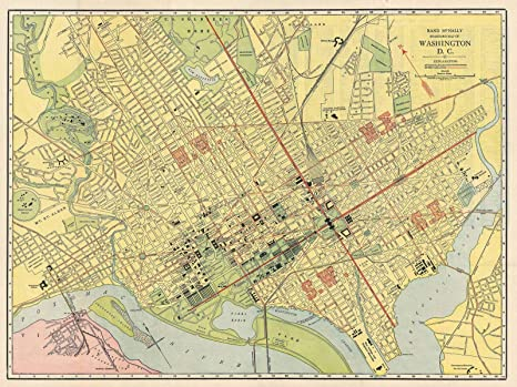 photograph about Washington Dc Printable Map named : Historic 1925 Rand McNally Map or Program of