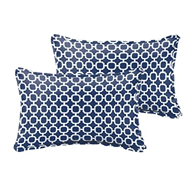 Humble and Haute Selena Navy Chainlink Indoor/Outdoor Flange Lumbar Pillows (Set of 2) 12 in h x 24 in w : Garden & Outdoor