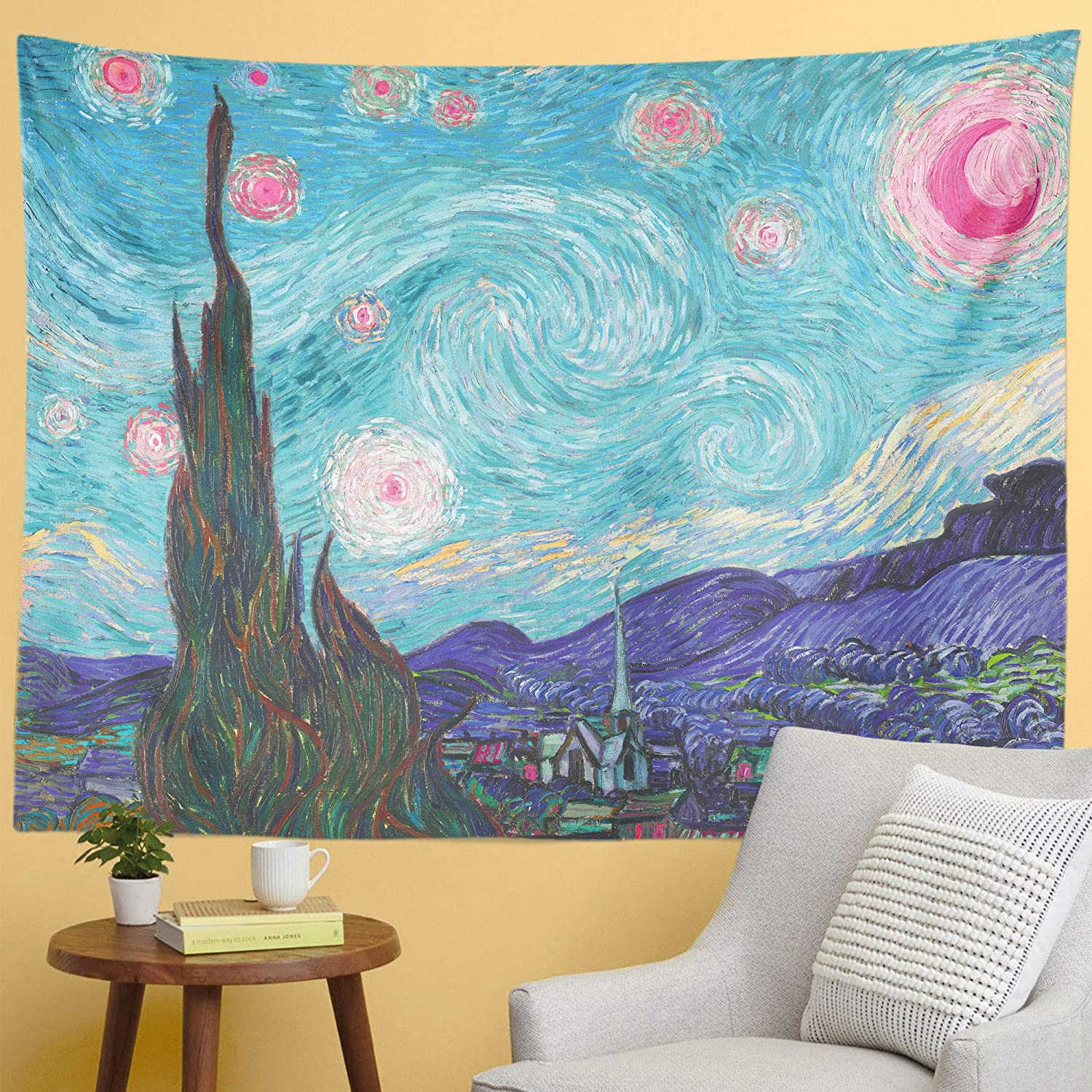 Jinxy Van Gogh Art Tapestry Starry Night Tapestry Turquoise Blue Dream Pastel Tapestry Wall Hanging for Party Bedroom Living Room Dorm Home Decor (59.1