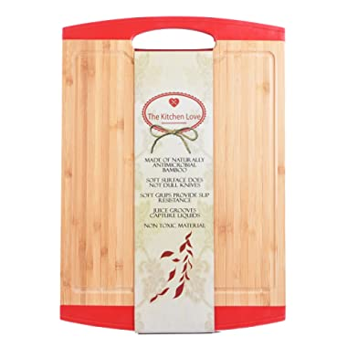 The Kitchen Love Large Wooden Bamboo Cutting Board -Anti slip-Chopping Board with Juice Groove and Handle-Anti microbial- Chopping and Serving Tray-Silicone Edges-Crack Resistance