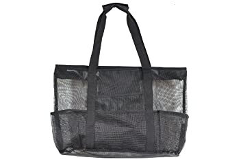 Amazon.com : Mesh Beach Bag Large Black 24 x 16 by Victus Outdoors ...