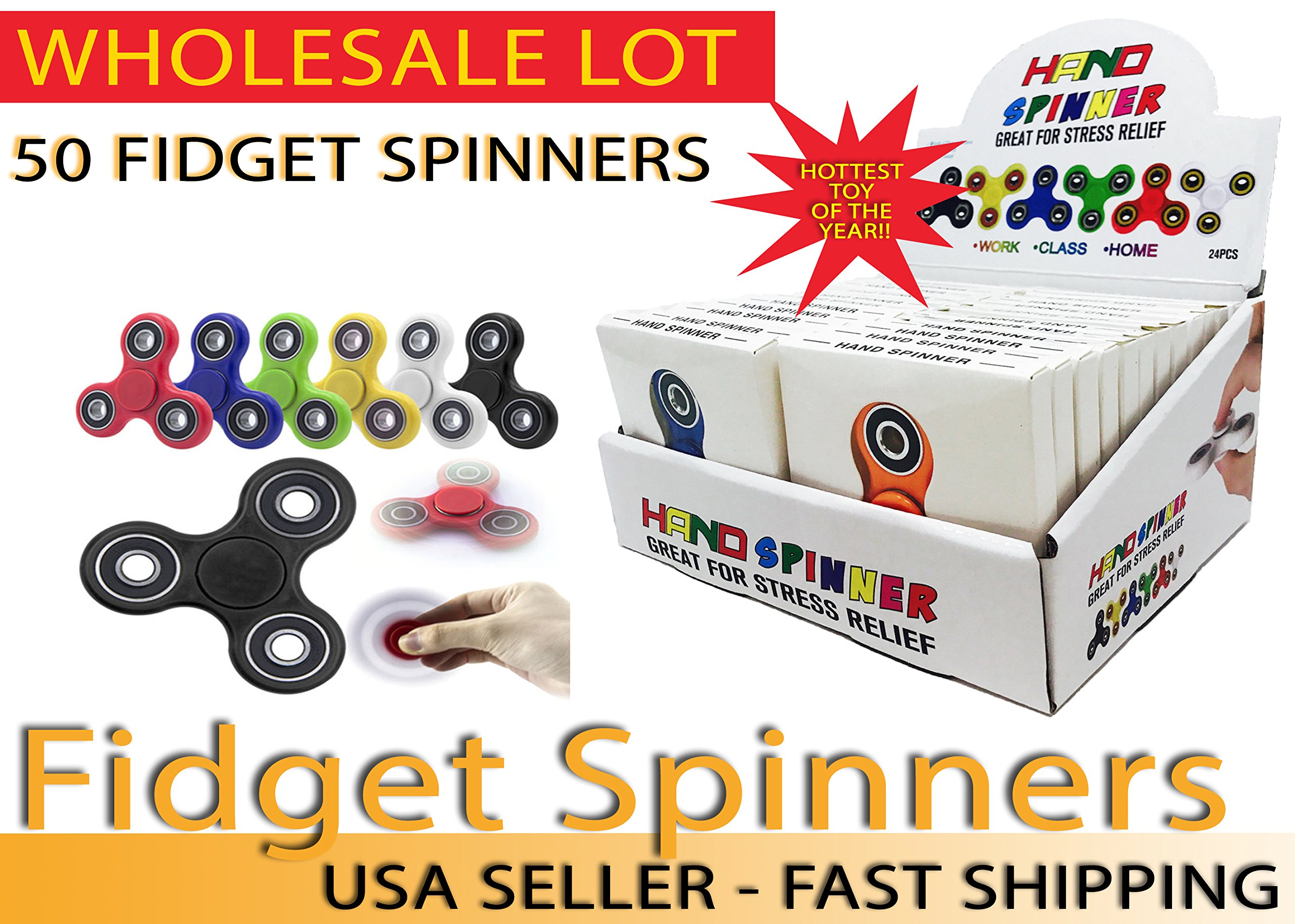 Fidget Hand Spinners 50 PC Color Bundle Bulk EDC Tri-Spinner Desk Toy Stress Anxiety Relief ADHD Student Relax