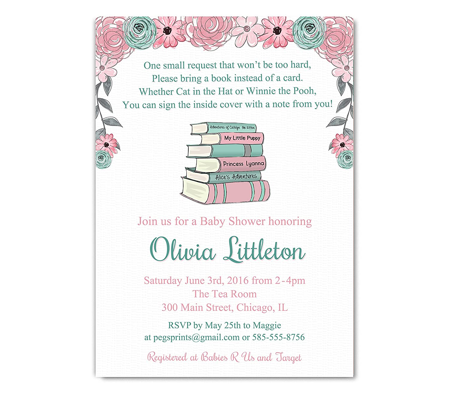 Amazon Storybook Baby Shower Invitations Girl Bring a Book