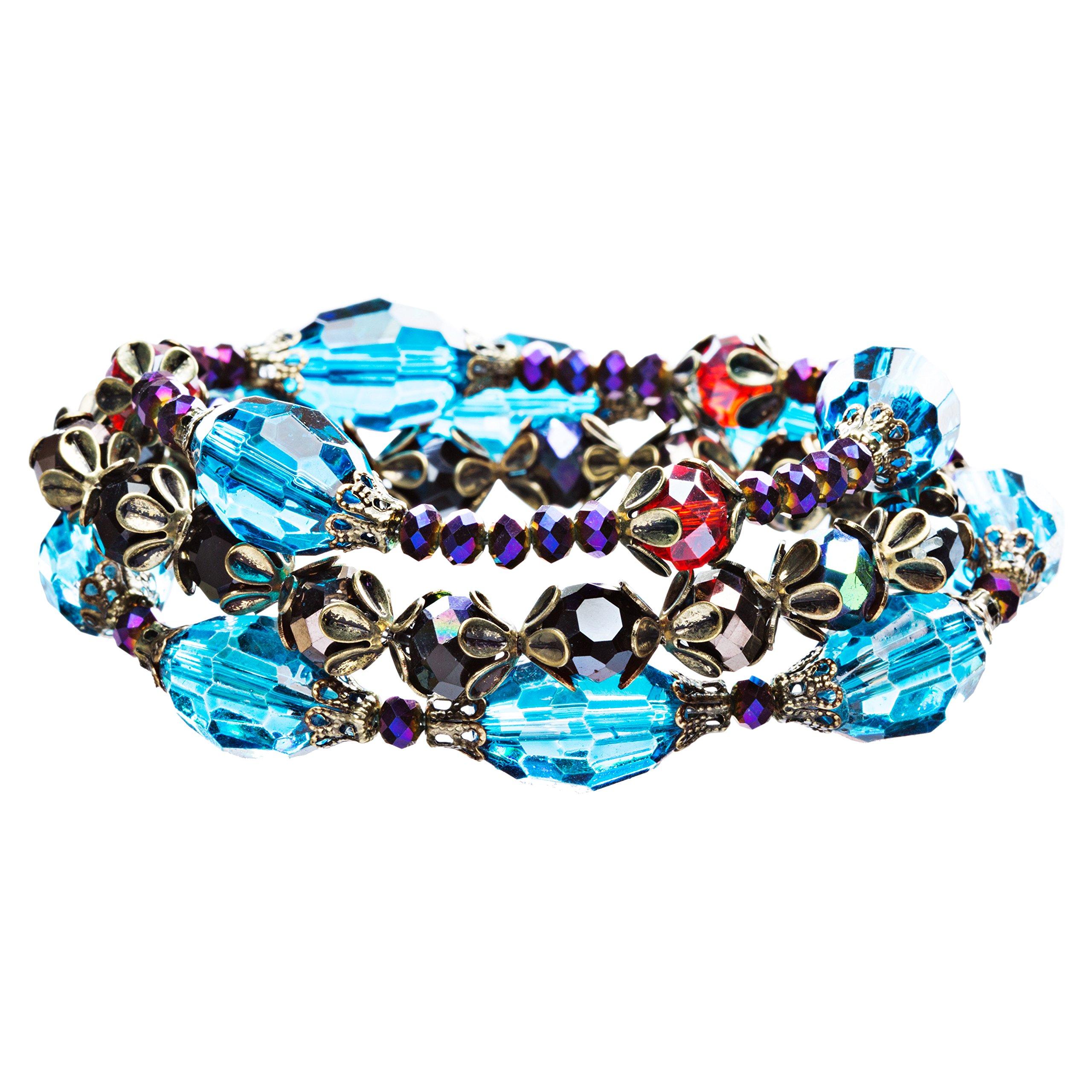 ACCESSORIESFOREVER Women Modern Fashion Crystal Rhinestone Vibrant Fun Wrap Stretch Bracelet B465 Blue
