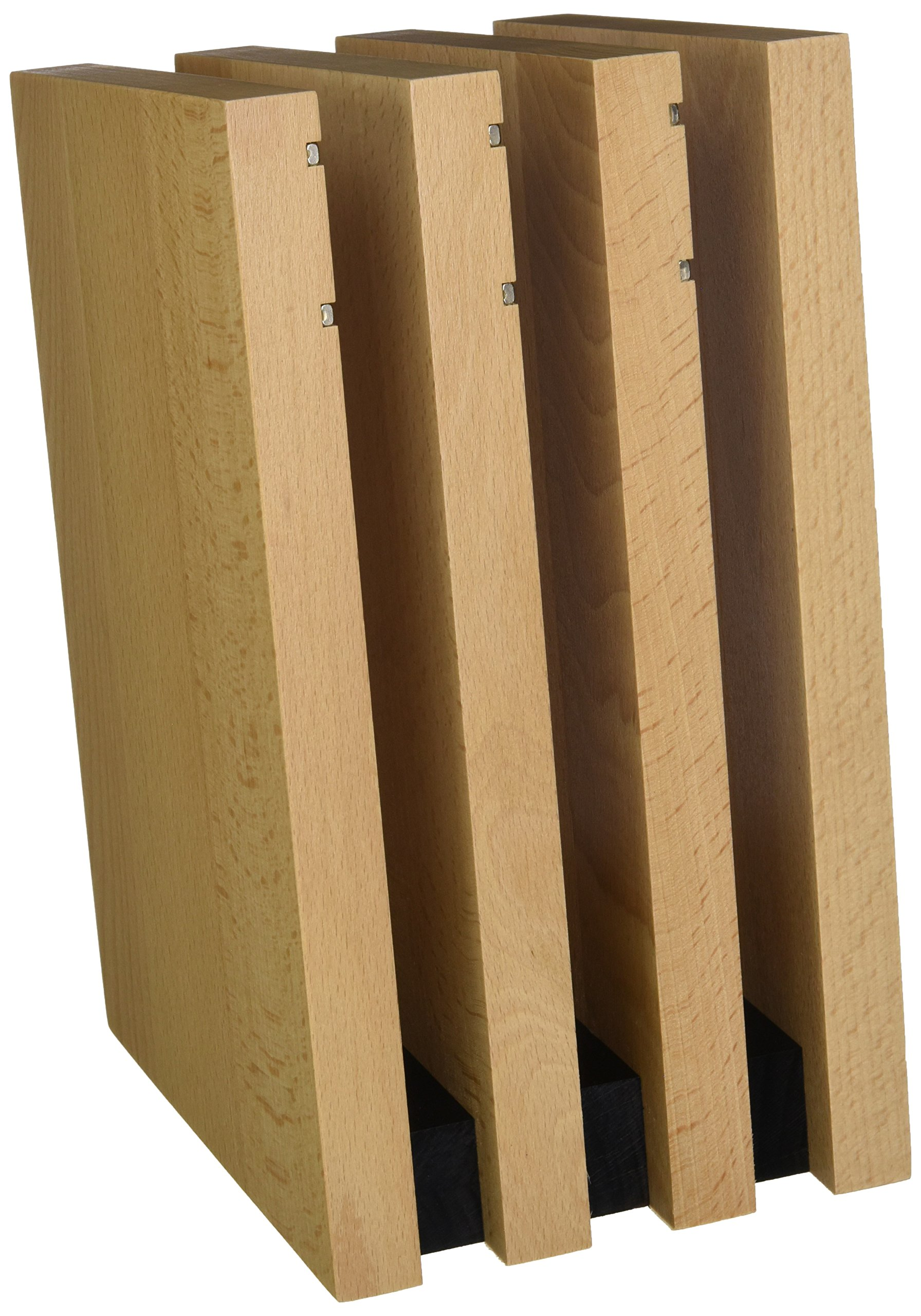 Artelegno Magnetic Knife Block Solid Beech Wood 4 Panel, Luxurious Italian Milano Collection by Master Craftsmen Displays Blades up to 9 Knives Elegantly, Eco-friendly, Natural Finish Black Accents