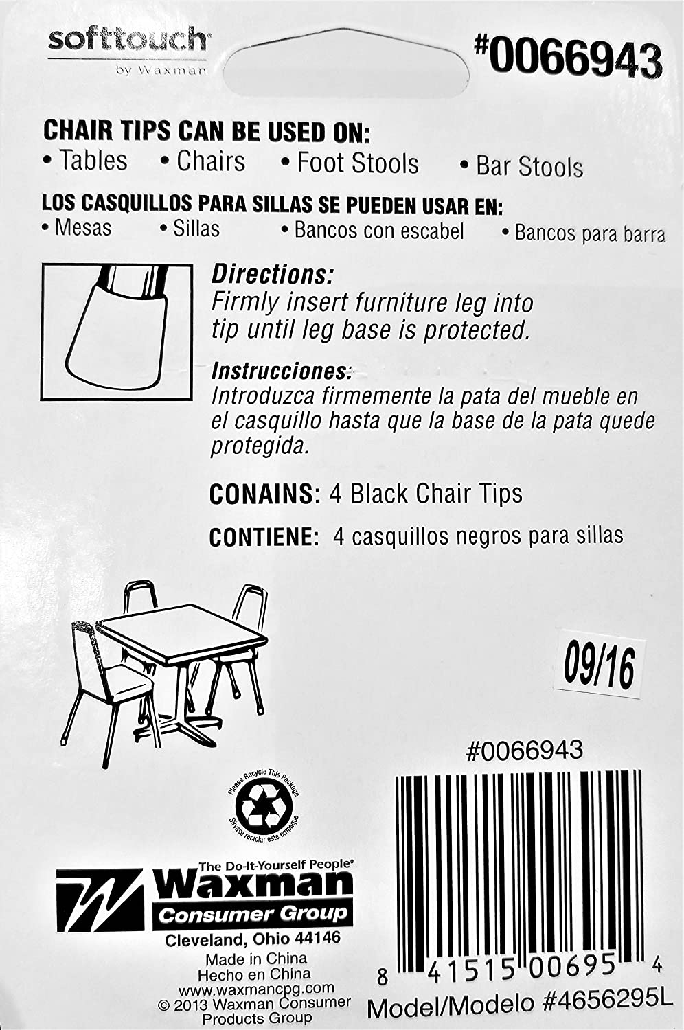 Softtouch Chair Tips, 5/8-in Black Vinyl Tips, 4-Pack ...