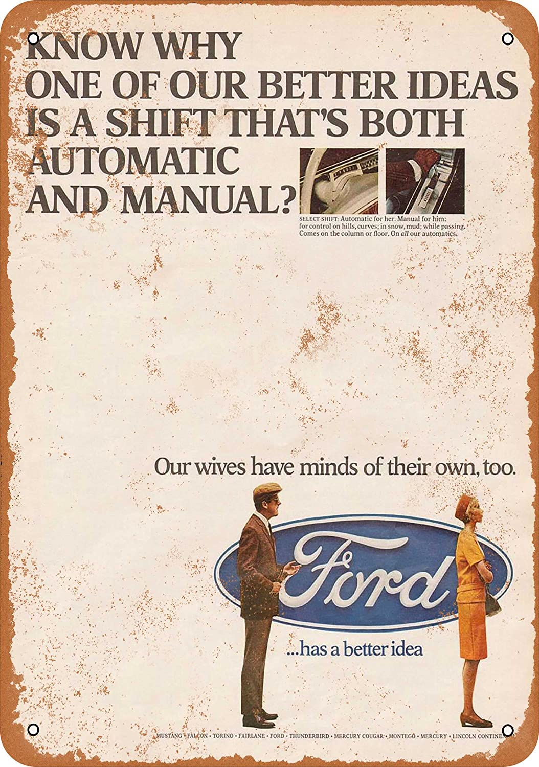 Amazon.com: Wall-Color 7 x 10 METAL SIGN - 1967 Ford Automatic and Manual  Shifting - Vintage Look Reproduction: Home & Kitchen