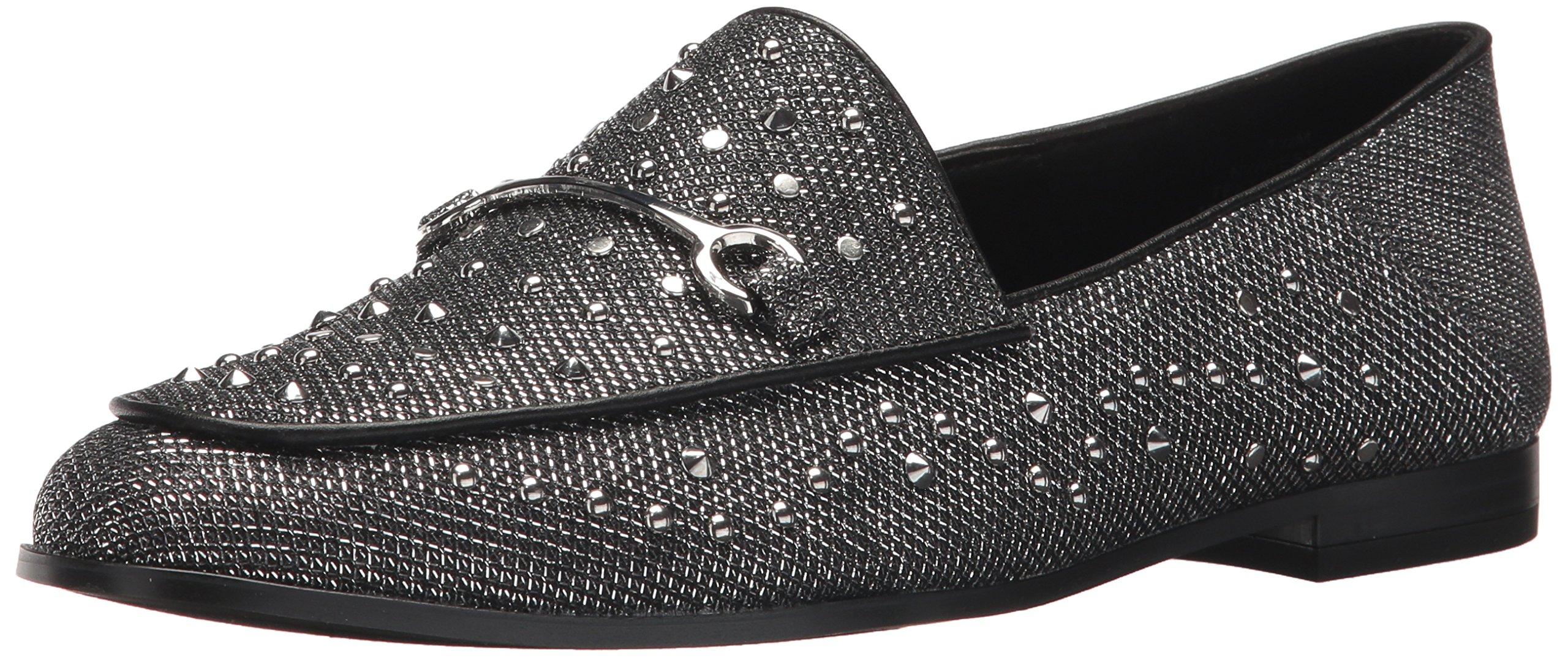 Nine West Women's Westoy Fabric Loafer Flat, Black-Silver-Black Fabric, 10.5 Medium US
